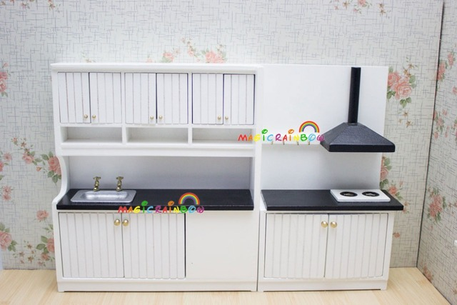 Lovely Dolls House Kitchen Furniture Set Cabinet Cupboard Stove Hood Sink 1/12  Dollhouse Miniatures White