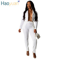 HAOYUAN Sexy Two Piece Suit Set Summer Outfit for Women Festival Long Sleeve Crop Top and Pants 2 Piece Club Outfit Matching Set