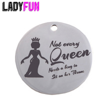 Black Woman Crown Queen Stainless Steel Charms 25mm High Polish Mirror Surface Jewelry Pendant Tag 20pcs