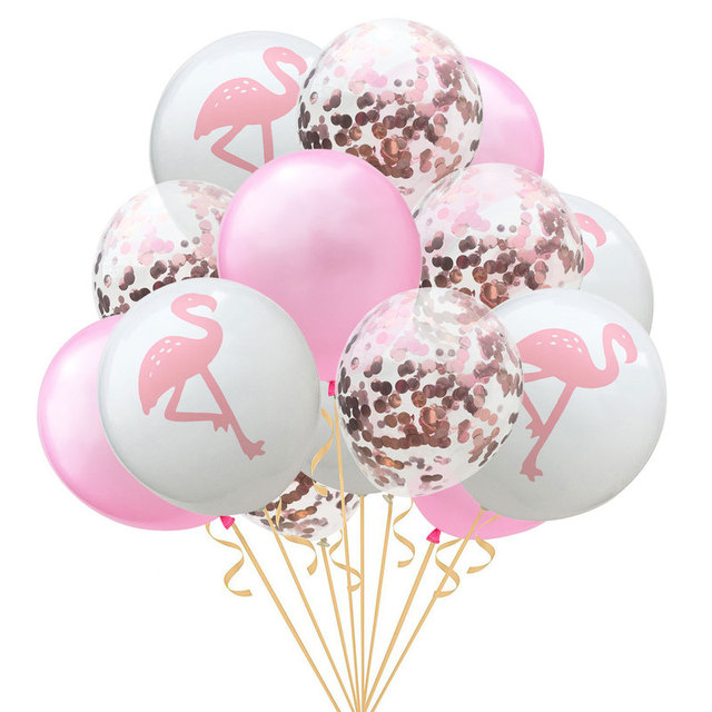 15pcs 12inch Foil Confetti Air Balloons Flamingo Pineapple Leaf Pearl Latex Balloons for Wedding Decoration Birthday Party Decor