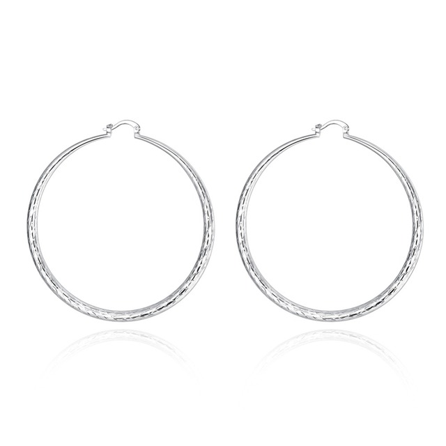 39beef120 Fashion Yu Wen Pattern Large Round Hoop Earrings Prismatic Creole Big Round  Earrings New Style Silver Plated Jewelry Wholesale