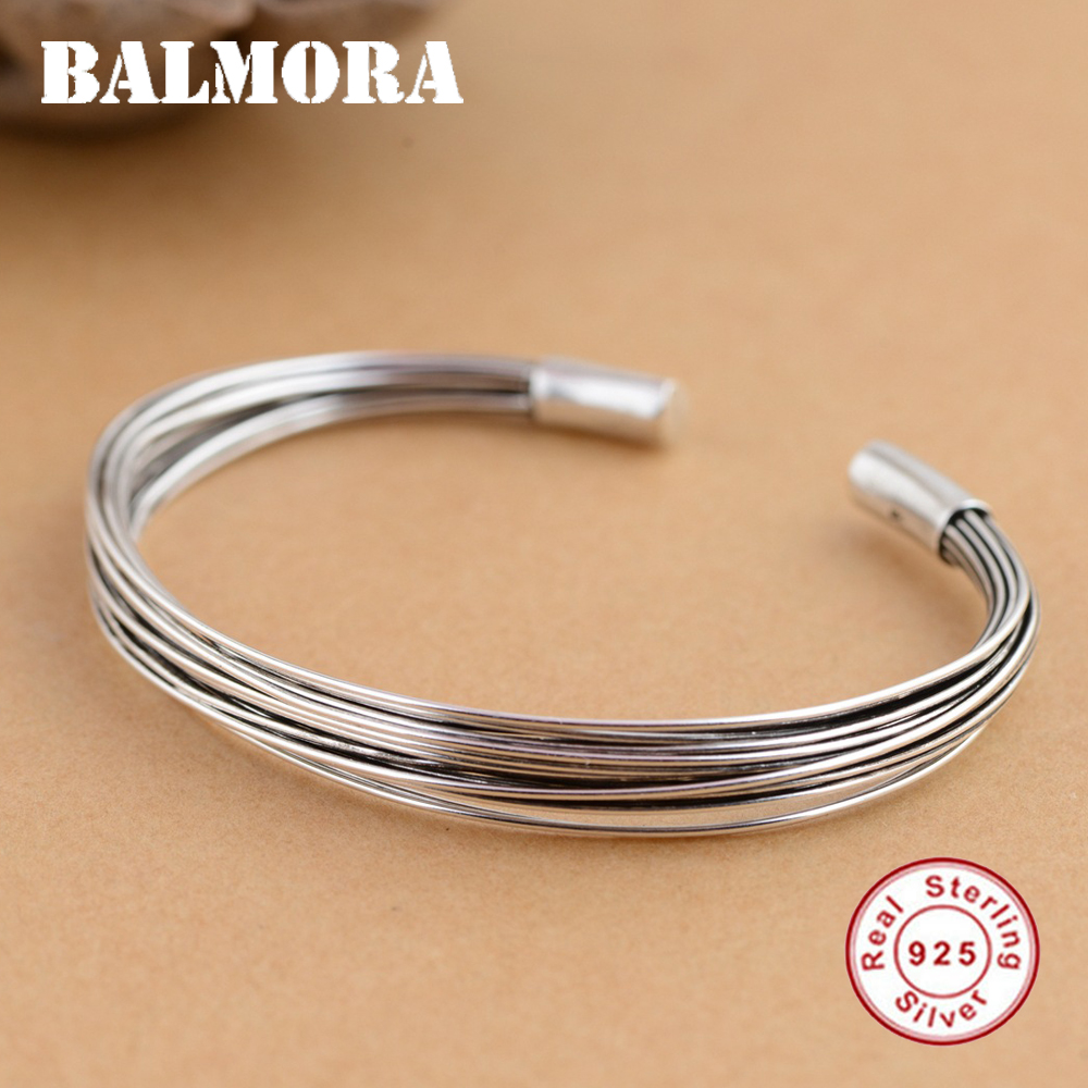 BALMORA Solid 925 Sterling Silver Open Bangles for Women Men Gift Retro Fashion Bracelets Silver Jewelry Accessories SZ0302