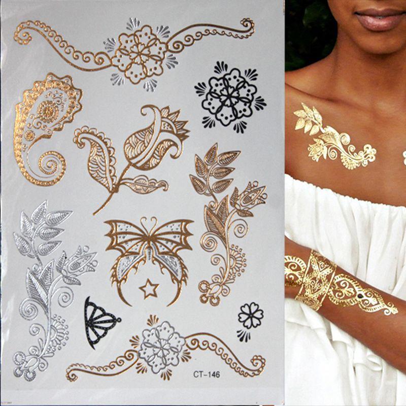 Горячие вспыш металлик Водонепроницаемый Временные татуировки цвета: золотистый, серебристый татуировки Для женщин хны цветок Тати Дизайн татуировки Стикеры