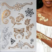 Hot Flash Metallic Waterproof Temporary Tattoo Gold Silver Tatoo Women Henna Flower Taty Design Tattoo Sticker 2016 unique european style taty tattoo glitter body art golden temporary tattoo metallic tongue flower bracelet tatoo designs