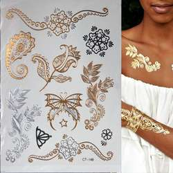 Горячая вспышка металлическая водостойкая временная татуировка Золото Серебро тату женщины Хна Цветок Taty дизайнерский тату-стикер