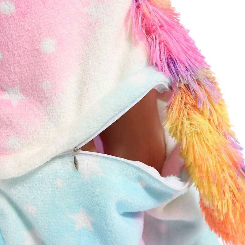 Kigurumi Eenhoorn Pyjama Pyjama Animal Onesie Kids Kostuum Licorne Panda Pyjama Jongens Meisjes Flanel Regenboog Eenhoorn Nachtkleding
