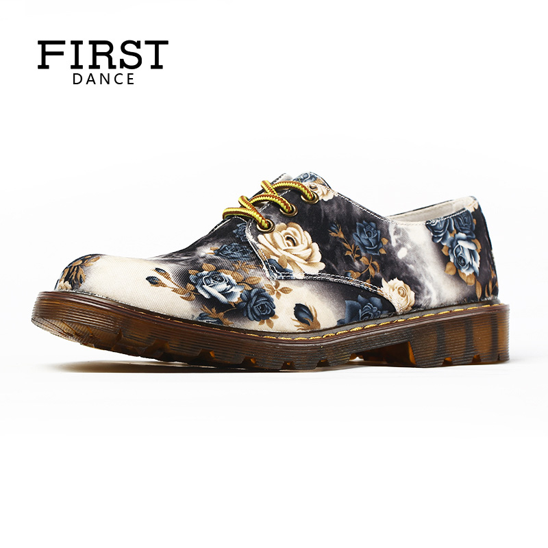 FIRST DANCE Fashion Retro Dr Martin Shoes Women Flats Gray Shoes Female Derby Casual Floral Shoes Flower Breathable For Women