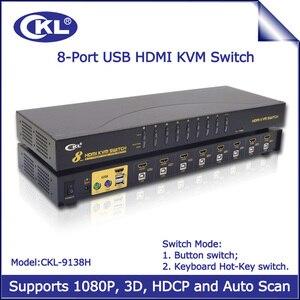Переключатель KVM с 8 портами USB, HDMI, с автоматическим сканированием, переключатель KVM 8 в 1 для ПК, монитора, клавиатуры, мыши и системы видеонаб...