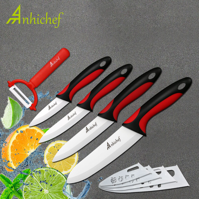 Kitchen Knife Ceramic Knives 3 4 5 6 Inch + Peeler White Blade Paring Fruit Vegetable Chef Utility Knife Set Cooking Tools