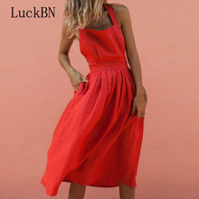 Sundress Sexy Strap Button Waist Pleated Dress Female Shoulder Wide Pleat High Bare Back Red Summer Womens Clothing