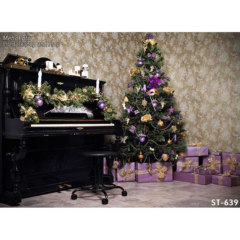 Horizontal vinyl print Christmas room with piano photography backdrop for photo studio portrait backgrounds ST-639 акустика центрального канала paradigm studio cc 490 v 5 piano black