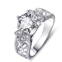 GNJ0757 Wysokiej Jakości 925 Srebrny Pierścień Słodkie Czarny Shiny Kryształ CZ Pierścionki Biżuteria i Akcesoria Prezent Dla Kobiet