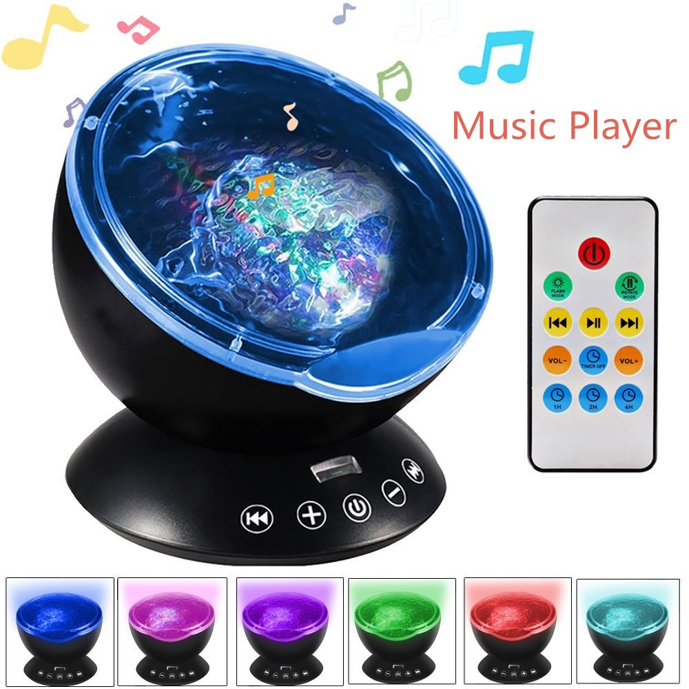 Dropshipping 7 Colors LED Night Light  Sky Remote Control Ocean Wave Projector With Mini Music Novelty Baby Lamp Or Kids