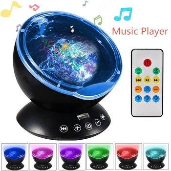 Dropshipping 7 colores LED luz nocturna cielo Control remoto ola de mar proyector con Mini música novedad bebé lámpara o niños
