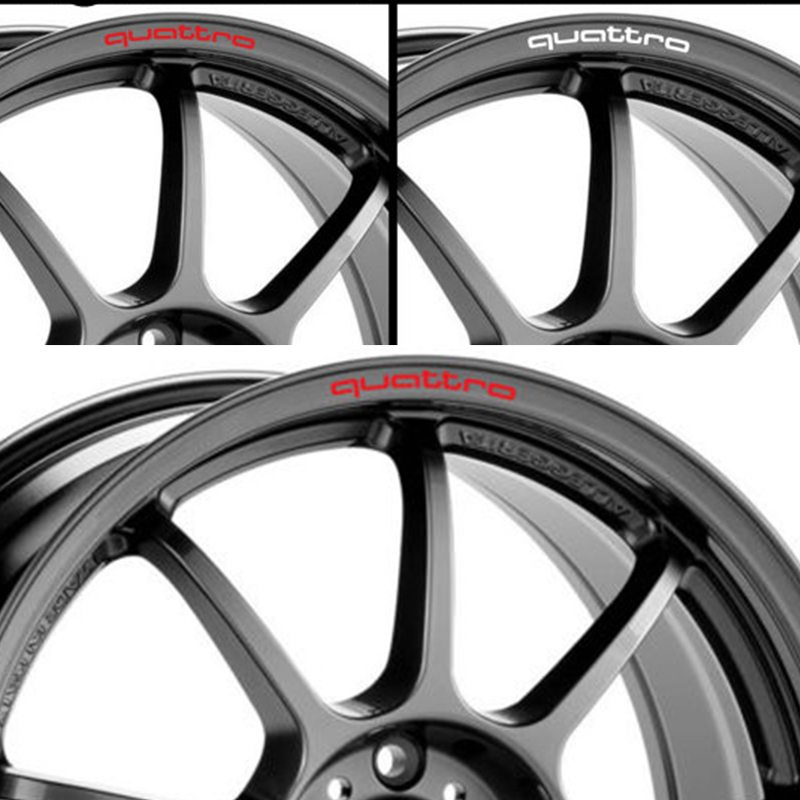 YONGXUN 4pcs/set Quattro Mounting Rims Alloy Wheel Decals Stickers for Audi A4L A5 A6 A7 RS5 RS6 RS7 RS Q3 audi coupe quattro купить витебск