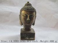 Elaborate Chinese Antique Copper Seal of Shakyamuni Buddha Head Statue