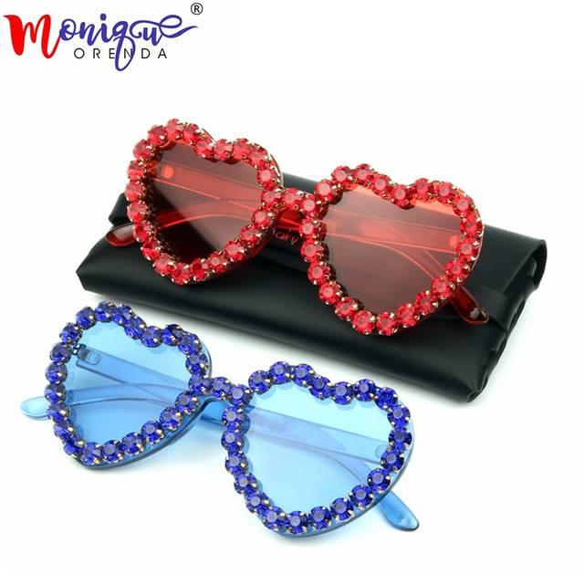 b3cefa86eb Love Heart Shape Sunglasses Women 2018 Rimless Frame Tint Clear Lens ...