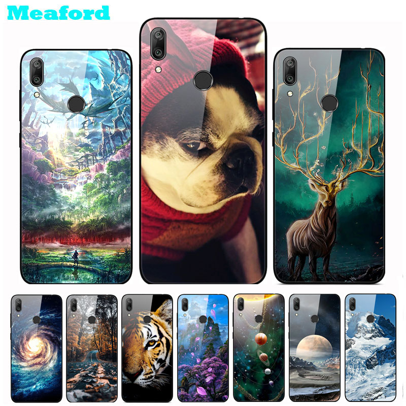 For <font><b>Huawei</b></font> Y7 <font><b>2019</b></font> Case Tempered Glass Cute Hard Back Cover For <font><b>Huawei</b></font> Y7 <font><b>2019</b></font> DUB-LX1 Case <font><b>Y</b></font> <font><b>7</b></font> Y7 Prime <font><b>2019</b></font> Phone Case <font><b>Funda</b></font> image