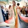 High Quality Fashion Designer Runway Dress Women S Spaghetti Strap Charming Gradient Striped Mid Calf Sexy