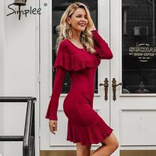Simplee Autumn women knitted sweater dress Elegant ruffle bell sleeve female office dress Party style ladies bodycon short dress