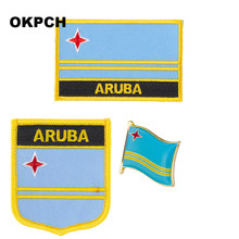 ARUBA flag patch badge 3pcs a Set Patches for Clothing DIY Decoration PT0236-3(China)