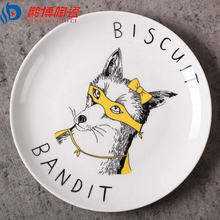 European Style 8*inch Dia Bone China Ceramic Flat Plates Cartoon Pattern Porcelain Tableware Salad Sushi Cake dish free shipping