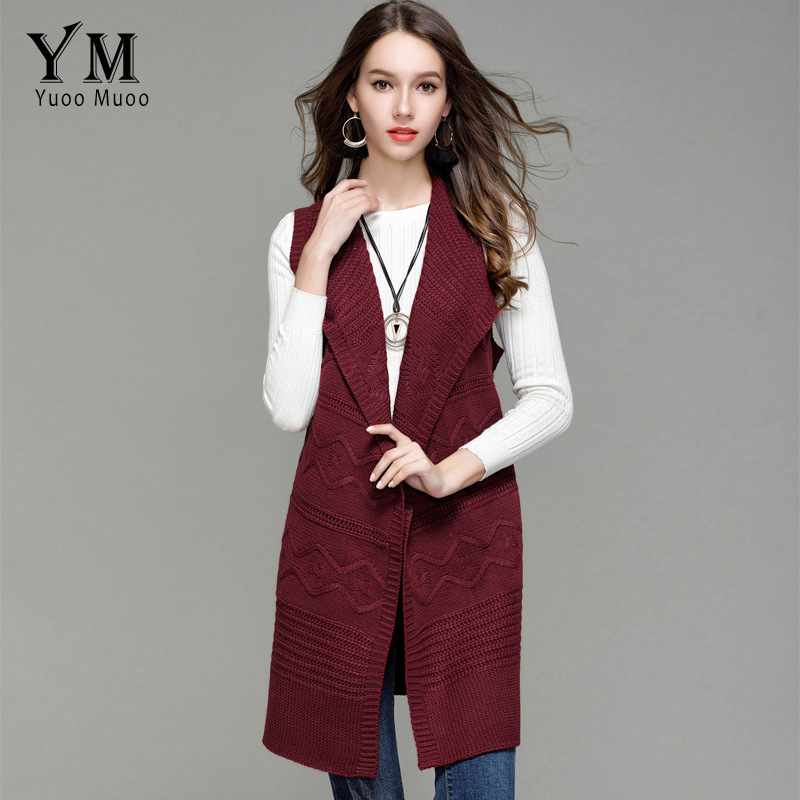 YuooMuoo Women Autumn Knitted Long Turn Down Collar Vest Open Stitch Poncho Ladies Sleeveless Sweater Cardigans Jacket With Belt