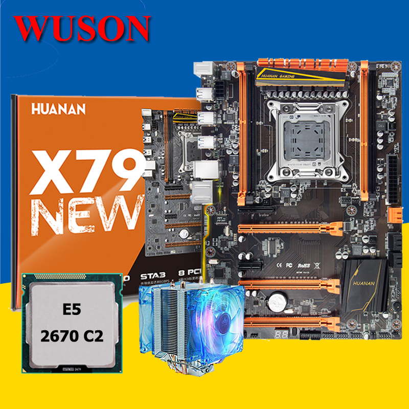HUANAN deluxe X79 motherboard CPU combos with cooler X79 LGA2011 motherboard CPU Xeon E5 2670 C2 noise free CPU cooler all test цена