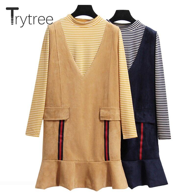 Trytree Women autumn top two piece set Casual stripe tops + Dress Ruffles Top Female Office Suit Set Women Costumes 2 Piece Set