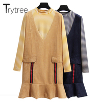 Trytree Women autumn top two piece set Casual stripe tops + Dress Ruffles Top Female Office Suit Set Women Costumes 2 Piece Set