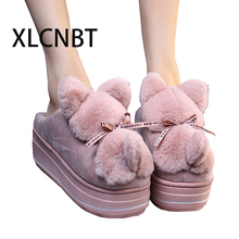 Women Winter Warm Ful Slippers sweet lovely females Slippers Cotton Sheep Lovers Home Slippers Indoor Plush Size House Shoes