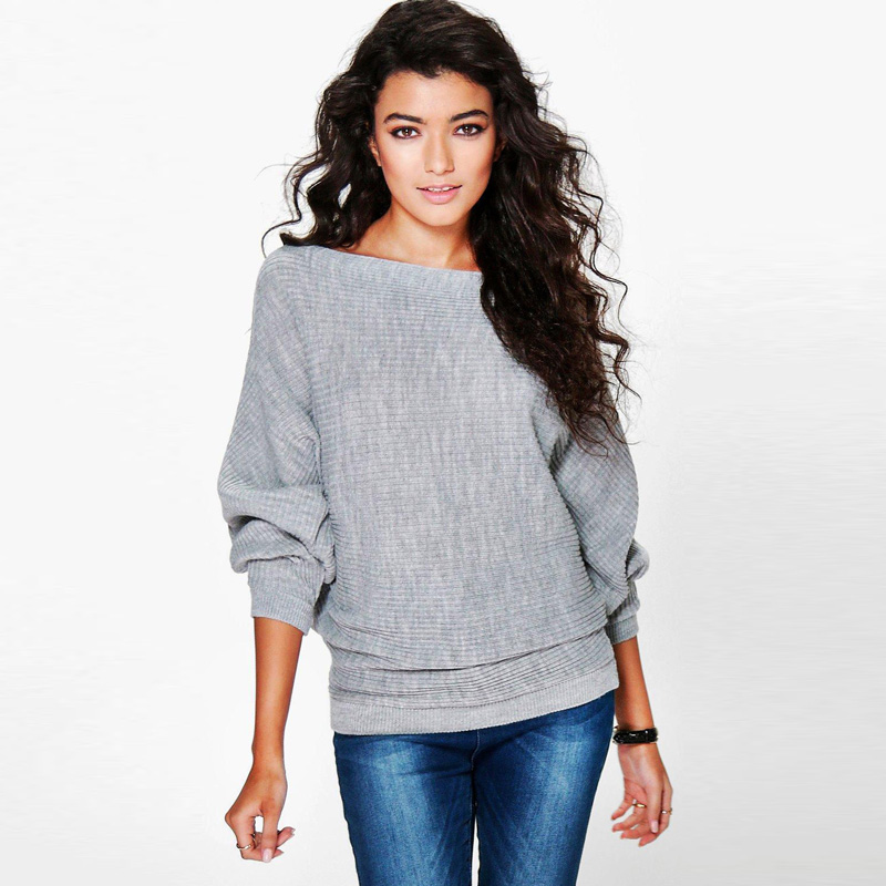 2017 Women Winter Fashion Elegant Solid Off Shoulder Bat Long Sleeves Loose  Fit Sweater Pullovers Outwear-in Pullovers from Women s Clothing on ... 21f7952d8