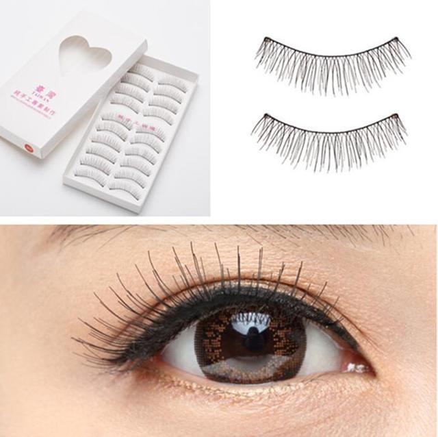 2bee85681fa 10 Pairs Makeup Handmade Natural Fashion False Eyelashes Soft Long Eye Lash  Cosmetic Thick Natural Bare