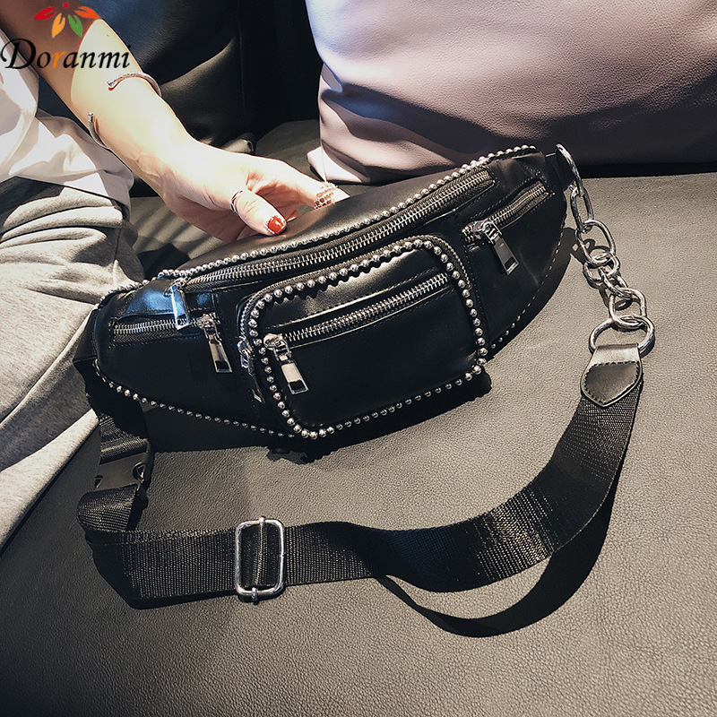 DORANMI Beading Black Fanny Pack Belt Bags 2019 Luxury Brand Designed Waist Bag Chain Strap Leather Waist Pack Heuptas DJB692
