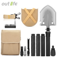 Outlife Military Folding Shovel With Carrying Bag Army Multi Tools Aluminum Alloy Outdoor Tools For Camping Outdoor Activities