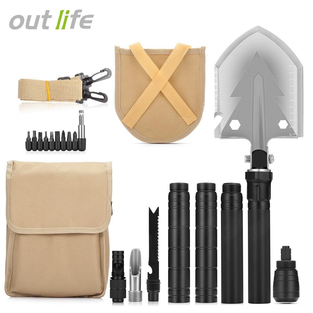 Outlife militaire pelle pliante avec sac de transport armée multi-outils en alliage d'aluminium outil de survie sur le terrain Camping activités de plein air