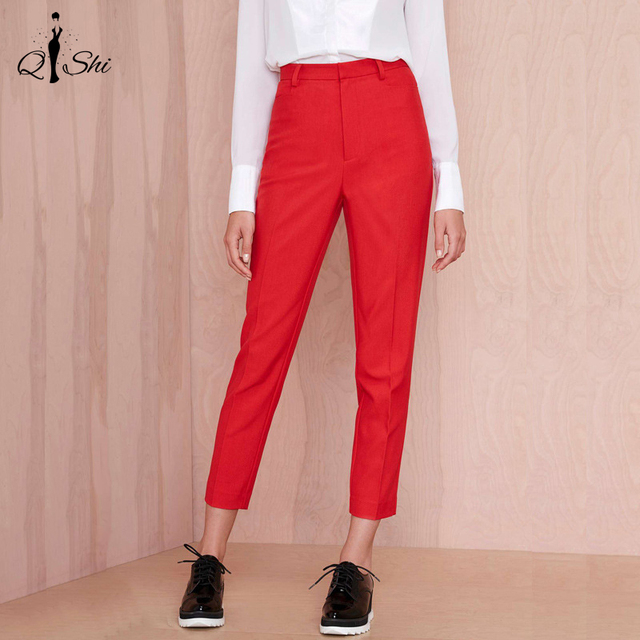 New Plus Size Women Pants Autumn Spring Red Zipper Casual Straight Pants Fashion Ankle-Length Pants