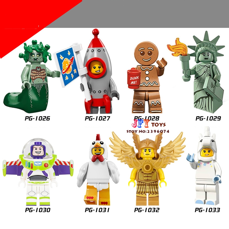 8pcs Series Medusa Rockey Boy Gingerbread Man Buzz Lightyear Unicorn collectible model kits building blocks toys for children