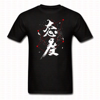 Chinese Letters English Means Attitude Printed Tshirt Brand Clothing Men Women Fashion Top Tee Casual Cotton