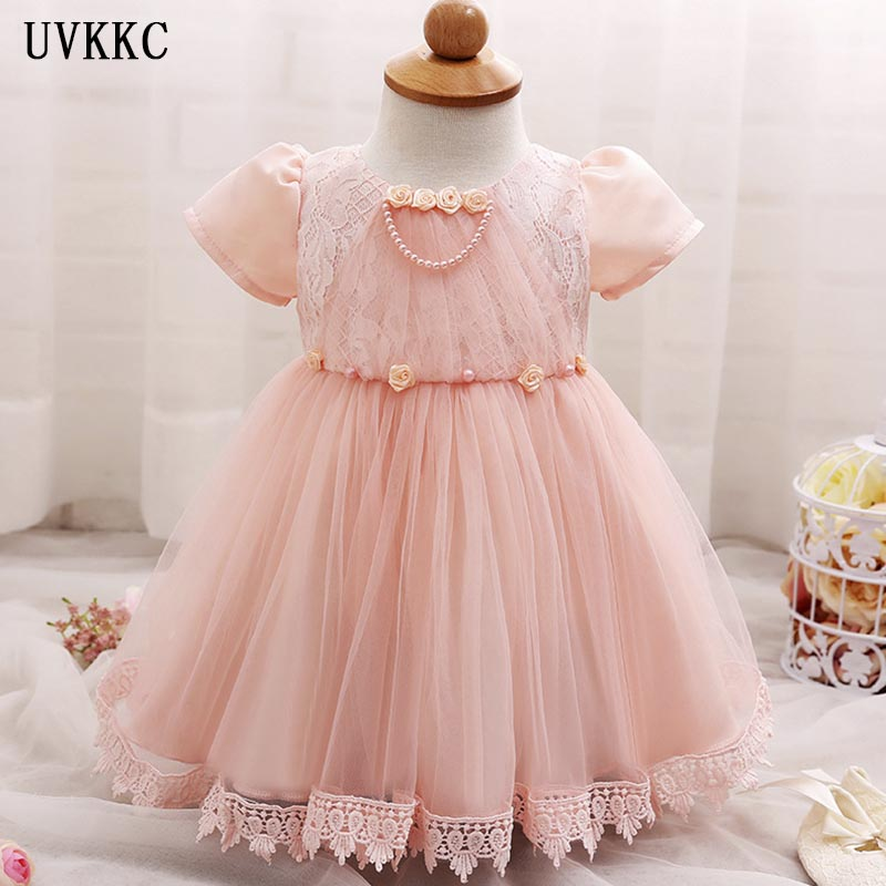 UVKKC New Born Baby Girls Infant Dress clothes Summer Kids Party Birthday Outfits 1-2years Shoes Set Christening Gown Baby girl cupcake birthday outfits leopard baby romper dress headband shoes infant lace tutu set roupa bebe menina winter girl clothes