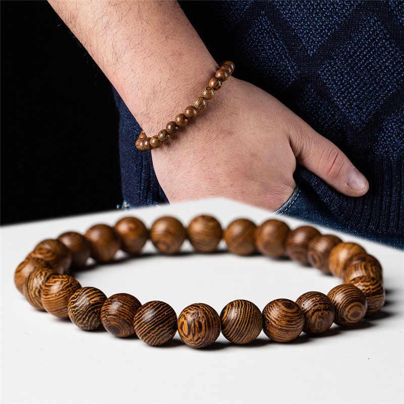 Pulsera de piedra de roca de Lava negra Natural Strand pulsera de Ojos de tigre piedras pulseras de cuentas de madera accesorios hombres mujeres joyería regalo