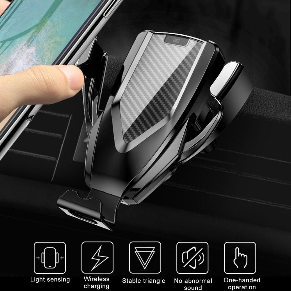 2019 Nouvelle mise à jour optique induction de verrouillage électrique chargeur de voiture de voiture support pour téléphone 10 W charge rapide