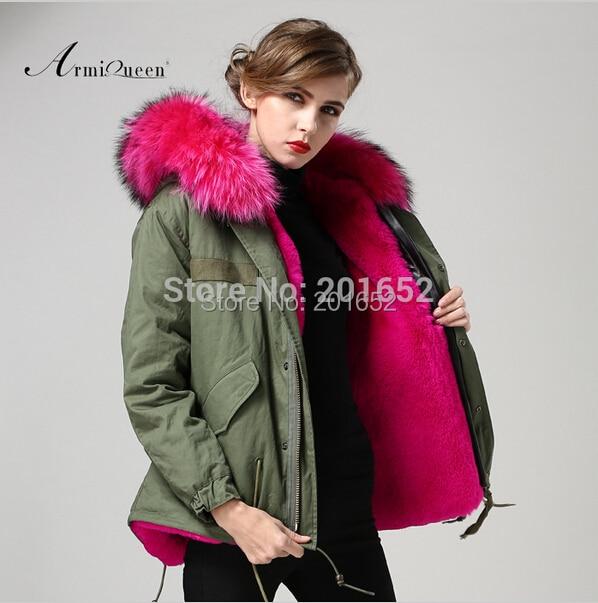 2015 Hot Sale Army Jacket Fur Jacke Long Leather Sleeve Cotton Shell Rose Red Lining Korea Style Fur Jacket