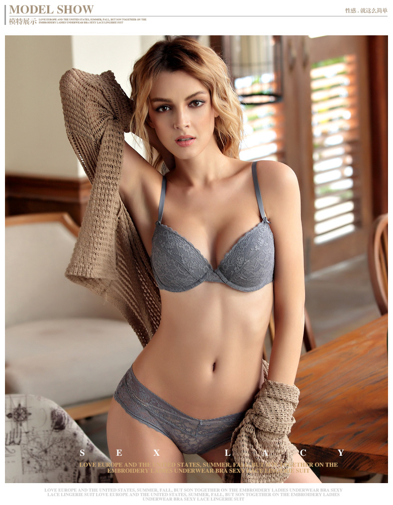 60cdcc125e1 New 2019 Lace Black Push Up Bra Set Top A B C Cups Underwear Women Lingerie  Sexy Panties And Bra Sets