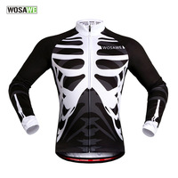 WOSAWE Motocross Cycling Jersey Skeleton Bone Mtb Maillot Ciclismo Hombre Cycle Jersey Men 2018 Bicycle Shirts Long Sleeves Gym