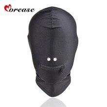 Morease Mask Black Mouth Eye Slave Hood Sex Product Toy harness Bondage erotic Adult Game For Women Fetish BDSM Secret Garden