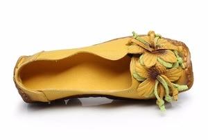 Image 5 - Mới Mùa Thu Hoa Làm Bằng Tay Giày của Phụ Nữ Floral Mềm Phẳng Đáy Giày Da Đanh Giản Dị Retro Phụ Nữ Genuine Leather Shoes