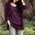 Women Blouses Tops 2017 Autumn Casual Loose Oversized O Neck Long Sleeve Pockets Cotton Solid Shirts Plus Size Elegant Blusas