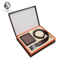 LAORENTOU Business Wallets Genuine Cow Leather Men Wallet + Belt Casual Short Purse Card Holder Men's Leather Purse