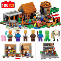 1106pcs My World Compatible Legoed Minecrafted Building Block My Village Bricks DIY Enlighten Brinquedos Gift Toys